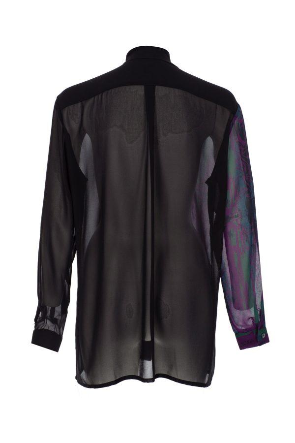 Printed shirt, designer shirt, violet and green,