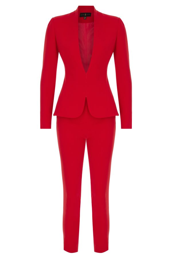 cigarette pants, red suit, red