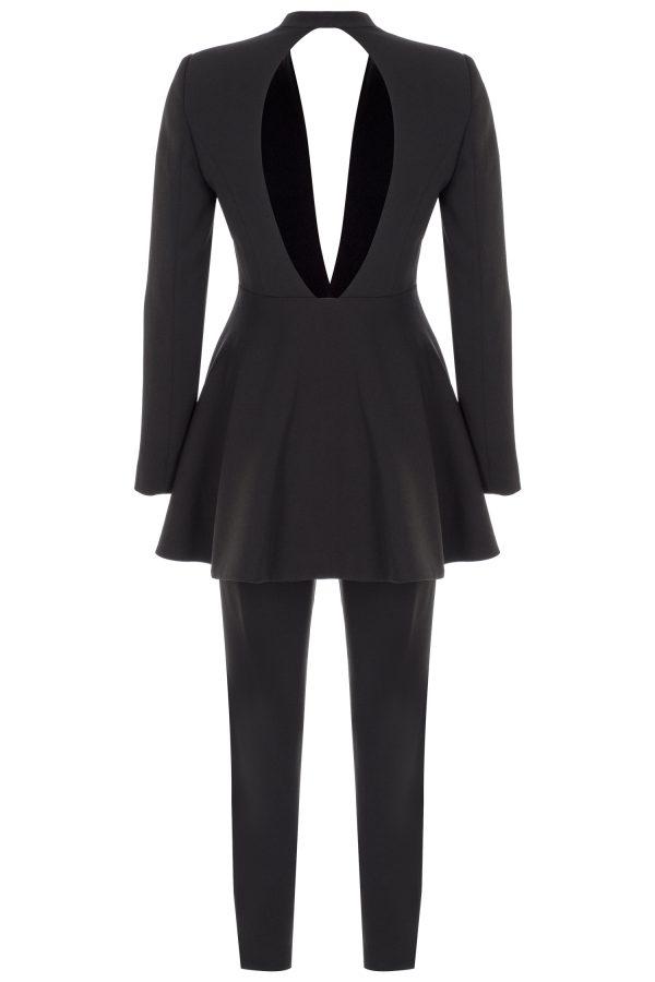 black suit, open back, elegant, cigarette pants