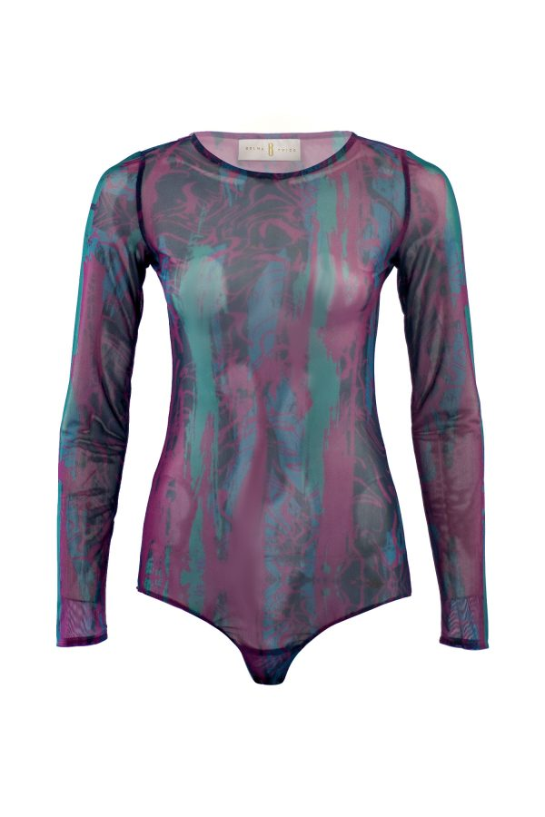 Bodysuit, underwear, tattoo, designer wear, violet, green