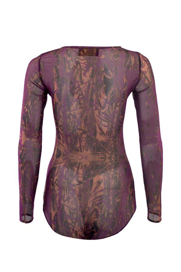 Bodysuit, underwear, tattoo, designer wear, violet, bronze