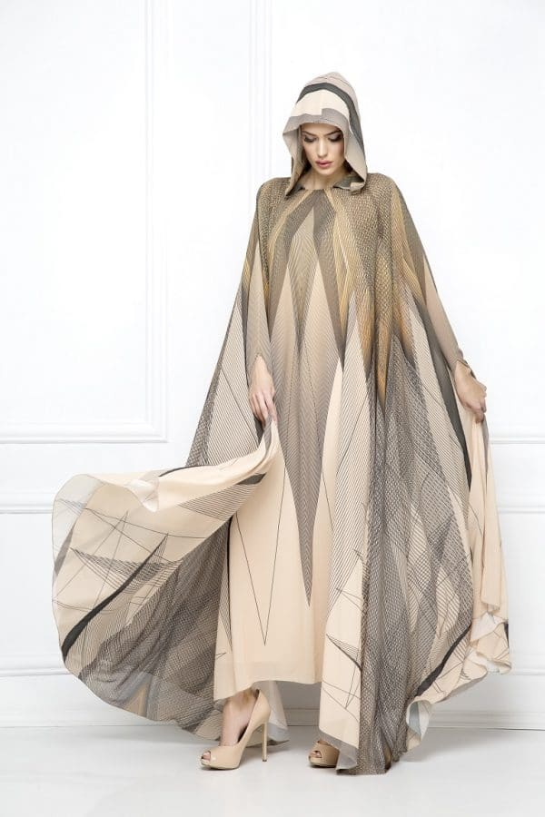 abaya, print, cape