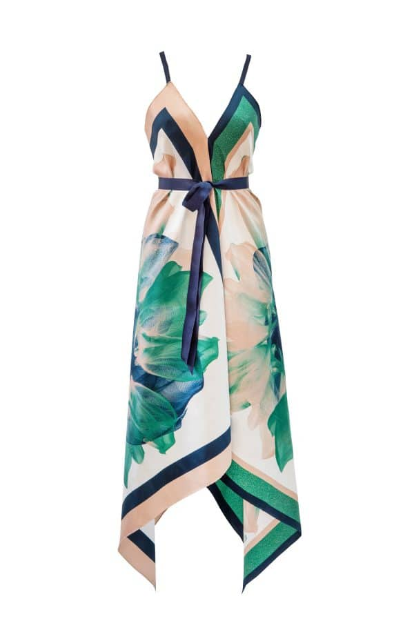dress, silkdress,scarf